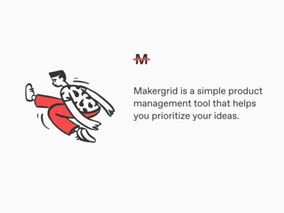 Makergrid app typography branding logo design illustration ui