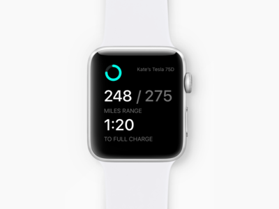046 –– Car Charge watch analytics minutes miles car charge battery dailyui ux ui tesla