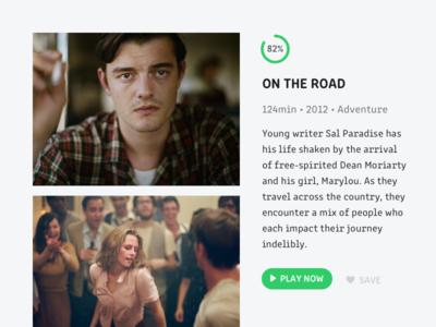 Movie Card 🏙 player kerouac jack film on the road ux ui card movie
