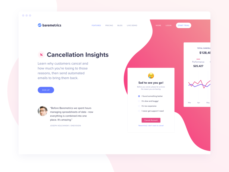 Cancellation Insights Launch data cancellation insights landing page