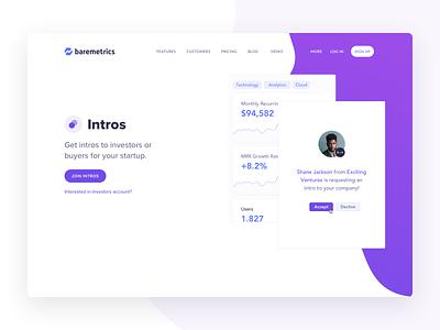 Baremetrics Intros ui venture capital investors startups intros landing page baremetrics