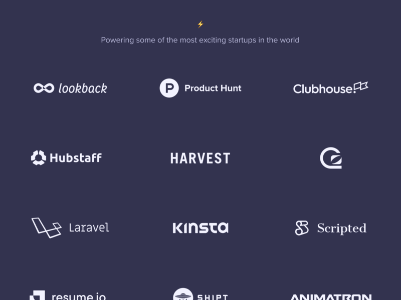 Clients section clients typography branding analytics baremetrics ui design landing page