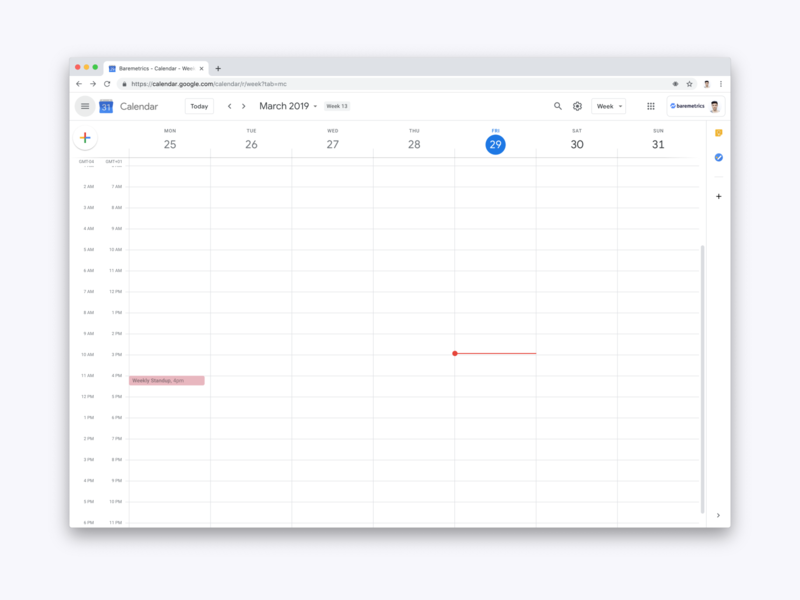 Favorite view calendar collaboration async team remote baremetrics