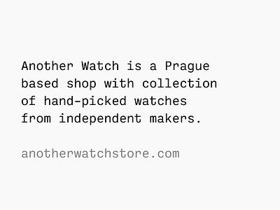 Another Watch · Tagline watches watch monospace tagline identity brand anotherwatch