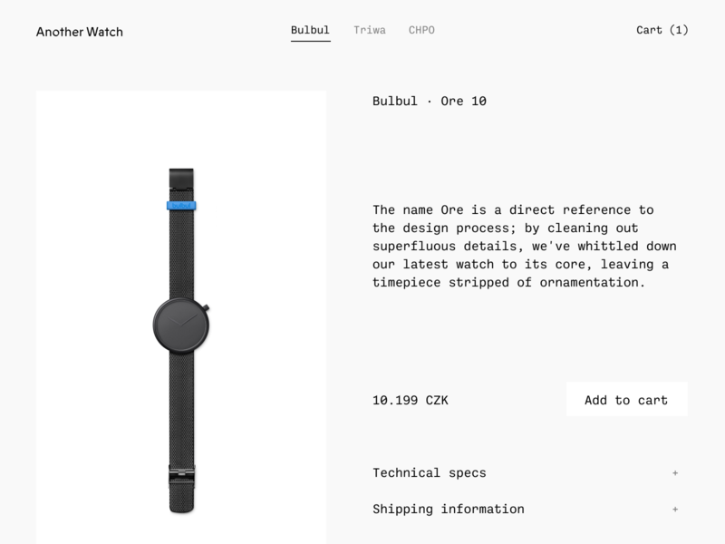 Another Watch · Shop concept product page product cart ux ui ecommerce store shop watches watch anotherwatch