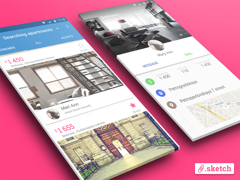 Material Design App [.sketch] material design android l sketch freebie free search profile lollipop