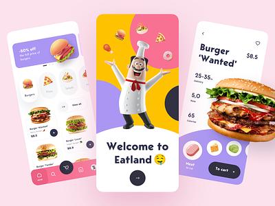Eatland - food design app mobile friendly mobile art ui ux concept design design