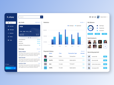 Payment Transaction App Dashboard dashboard design user experience user interface