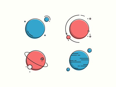 Planets graphic design vector icon set planet lineart minimal icon