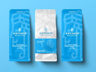 Artemis Cafe design typography packaging logo branding