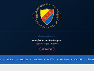 Djurgården Fotboll - Design concept dif djurgården search freight sans pro sports club football soccer wordpress website