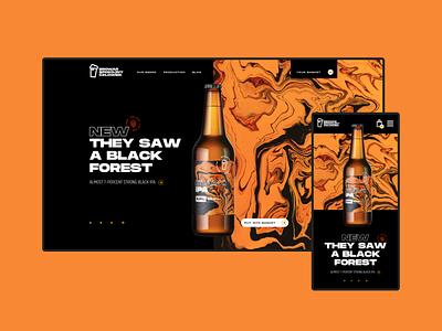 Spokojny Człowiek Brewery - homepage e-commerce ux ui lager ipa animations branding landing page website colorful orange packshot brewery marble fluid liquid marbles homepage beer