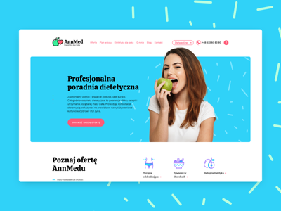 Annmed - small website for diet expert dietetician icons woman ui ux apple colors diet medical