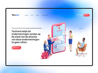 Techone - homepage design callcenter telephone website blue gradients office characters dutch mobile 3d ilustration 3d it