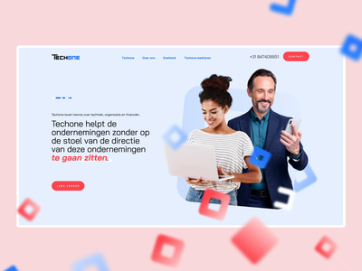 Techone - second version of a homepage website branding it interactions motion floating logo rectangles shape netherlands techone