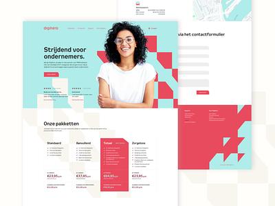 Digihero website design blue pink ui homepage 404 typography face patterns digital