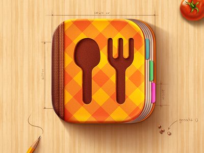 iOS Icon for Cook Book app cook book icon ios tomato apple illustration spoon