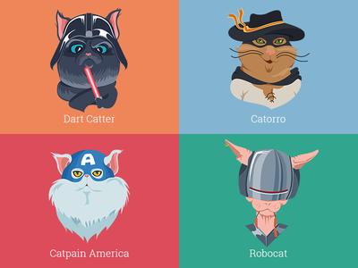 Incredible cats cat zorro captain america robocop dart vader lazer