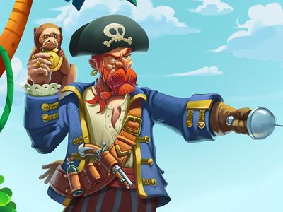 Pirate hat sea palm sand gun monkey character pirate