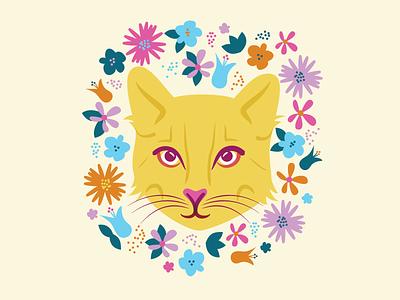 Pretty Kitty colorful bright portrait cat illustration