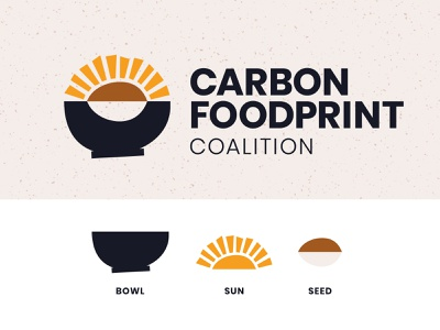Carbon Foodprint Coalition Logo agriculture sun vintage cooking retro zero waste eco-friendly non-profit nonprofit environment logo design logotype symbol icon brand identity brand design branding logos logo