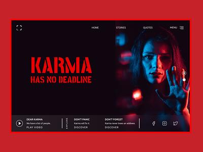 Karma Has No Deadline UI Web Concept graphicdesign web ui design