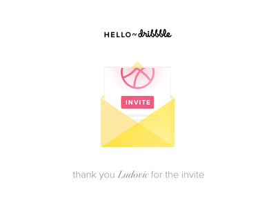 Hello Dribbble! flat design thanks invitation first shot