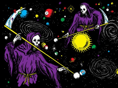 Here for a good time, not a long time photoshop procreate ink space planets skeleton reaper pool billiards illustration