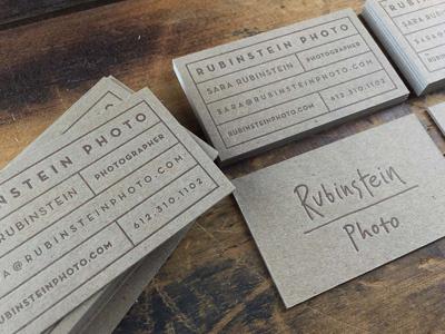 Rubinstein Photo Business Cards letterpress chipboard clean simple