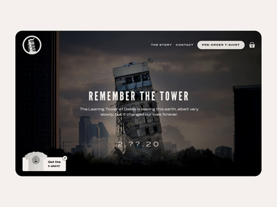 Remember the Leaning Tower of Dallas animation scroll parallax shirt ecommerce store landing page home website dallas tower