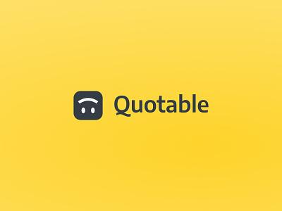 Quotable 🙃 logotype icon wordmark sans serif product ux ui yellow q quote design emoji smile branding logo mobile app quotable