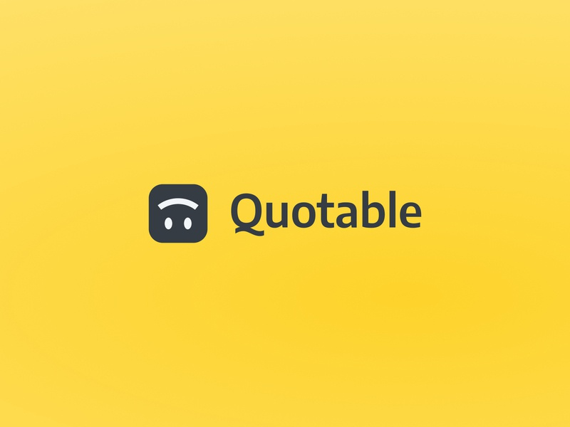 Quotable 🙃 logotype icon wordmark sans serif product ux ui yellow q quote design emoji smile branding logo mobile app quotable