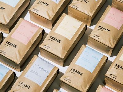 Frame Coffee Co taste variety light medium dark package flavors roast pastel ethical minimal logo bag identity branding design coffee packaging