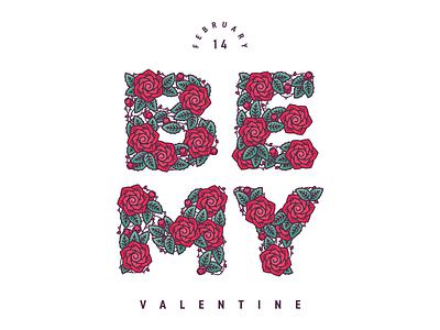 Valentine's Card Vector be 14 mine leaf flower rose vine green red vector valentine