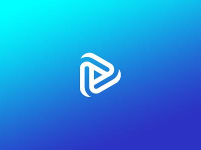 *Play* design logo vector clean white click button gradient blue icon play