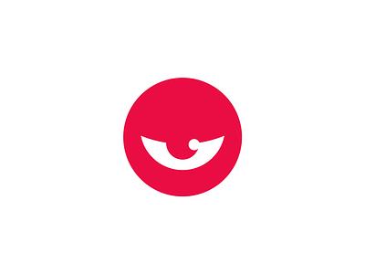 Abnormal identity branding design blink minimal red logo monster eye abnormal