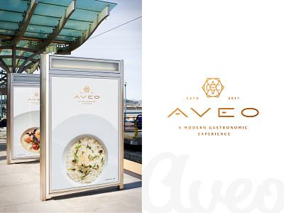 Aveo Lockup may motivation identity script linework minimal hexagon gold restaurant branding clean