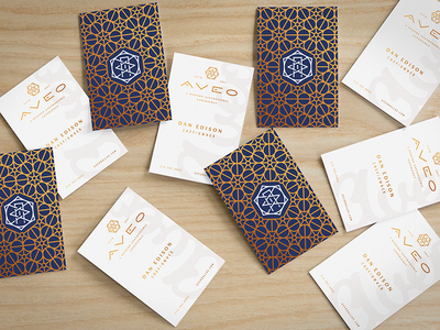 Aveo Business Cards branding contact mockup print design logo monogram gold cards business