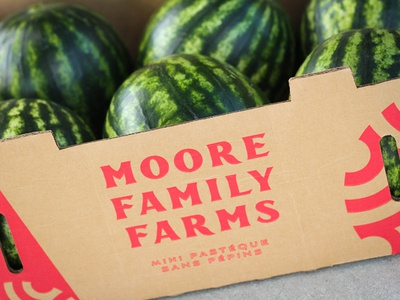 Moore Melons Box identity type design logo branding produce farm watermelon packaging