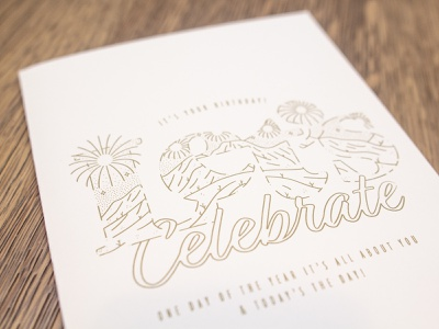Lets Celebrate Card Dribs card birthday stars fireworks mountains celebrate monoweight lines linework illustration design greeting card