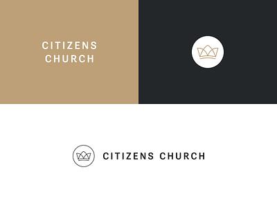 Citizens Church kingdom identity lockup sans serif gold crown design logo branding church citizen