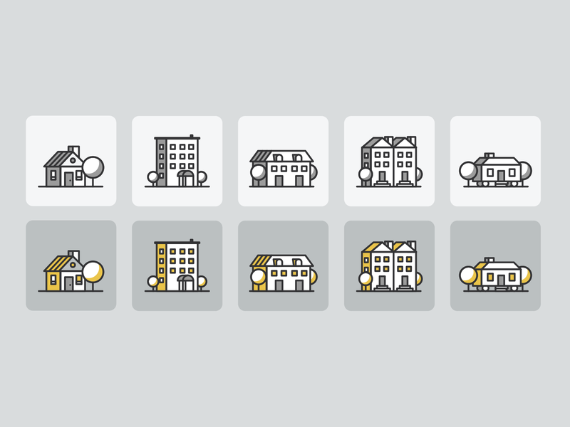 What kind of home do you own? illustration design monoweight lines simple ux ui select options hover form home condo apartment house family icon