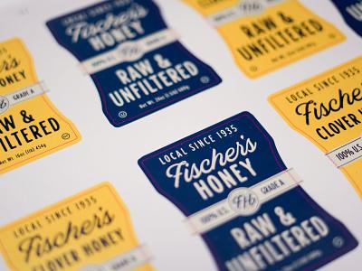 Fischer's Honey Test Run comb emblem bottle sticker print raw local label honey packaging type identity logo design branding