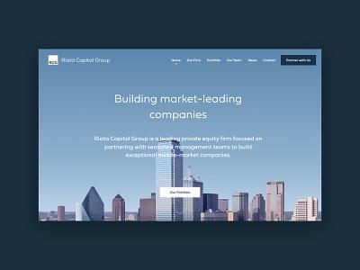 RCG Homepage portfolio blue sky background photo skyline desktop consulting website company money capital venture equity private marketing home page design ui
