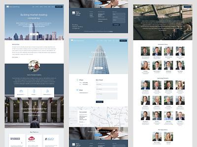 Website Launch portfolio home page company team location map form contact design capital venture equity private website ui