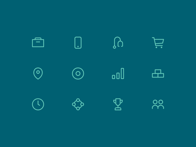 Riata Icons clean flat linework lines ui web design equity private monoweight identity capital venture branding website icons