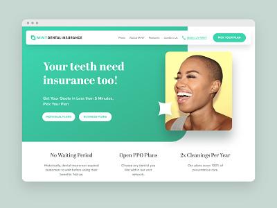 Mint Dental Insurance sparkle minty design logo branding leaf parallax clean smile green desktop health ux website ui teeth dentistry insurance dental mint
