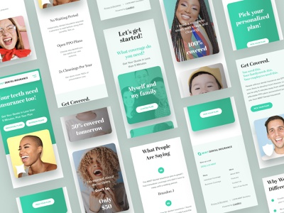 MINT Mobile Designs branding logo iphonex family get started plans tooth smile apply green layouts phone mobile ui teeth dentist insurance dental mint