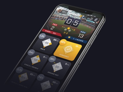 Predikt select player score friends countdown timer points product branding selection gameplay home run phone game mobile ui design app sports baseball