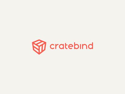 New CrateBind Logo 😱 custom typography logomark perspective clean simple monoweight orange crate 3d box agency lockup wordmark icon logotype design identity brand logo